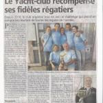 Scan Article  Le Yacht Club récompense ses fidèles régatiers